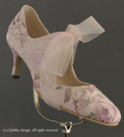 LilyBlue pink floral handmade shoe with light pink floral tones.