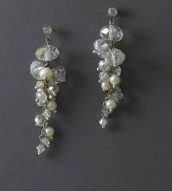 LilyBlue crystal freshwater pearl chain earrings