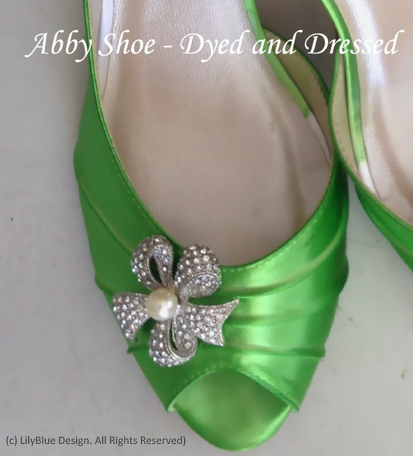 b3b1ce318 Kitten heel Abby Satin Wedding Shoe Dyed and showing a Custom Decoration. .  This beautiful
