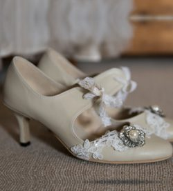 LilyBlue Handmade Leather Nini Wedding Shoe with diamante flower and lace options