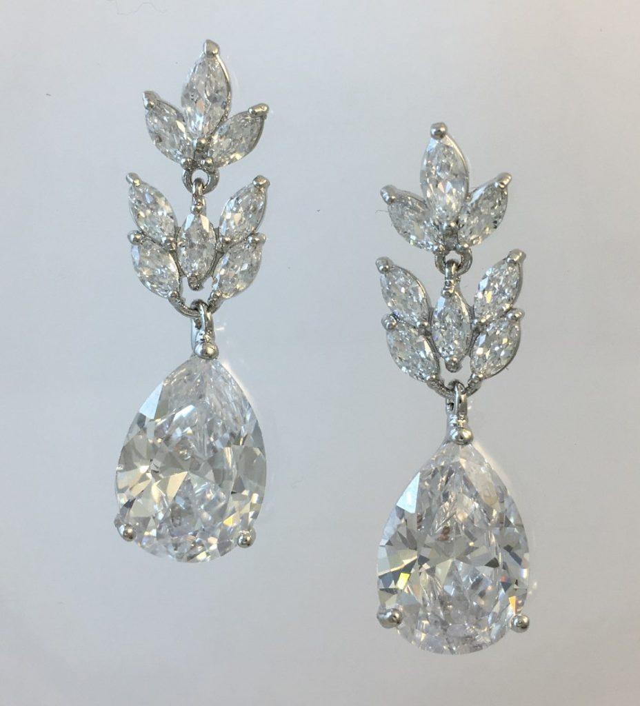 Vine Cubic Zirconia Wedding Earrings Cz024 By Lilyblue